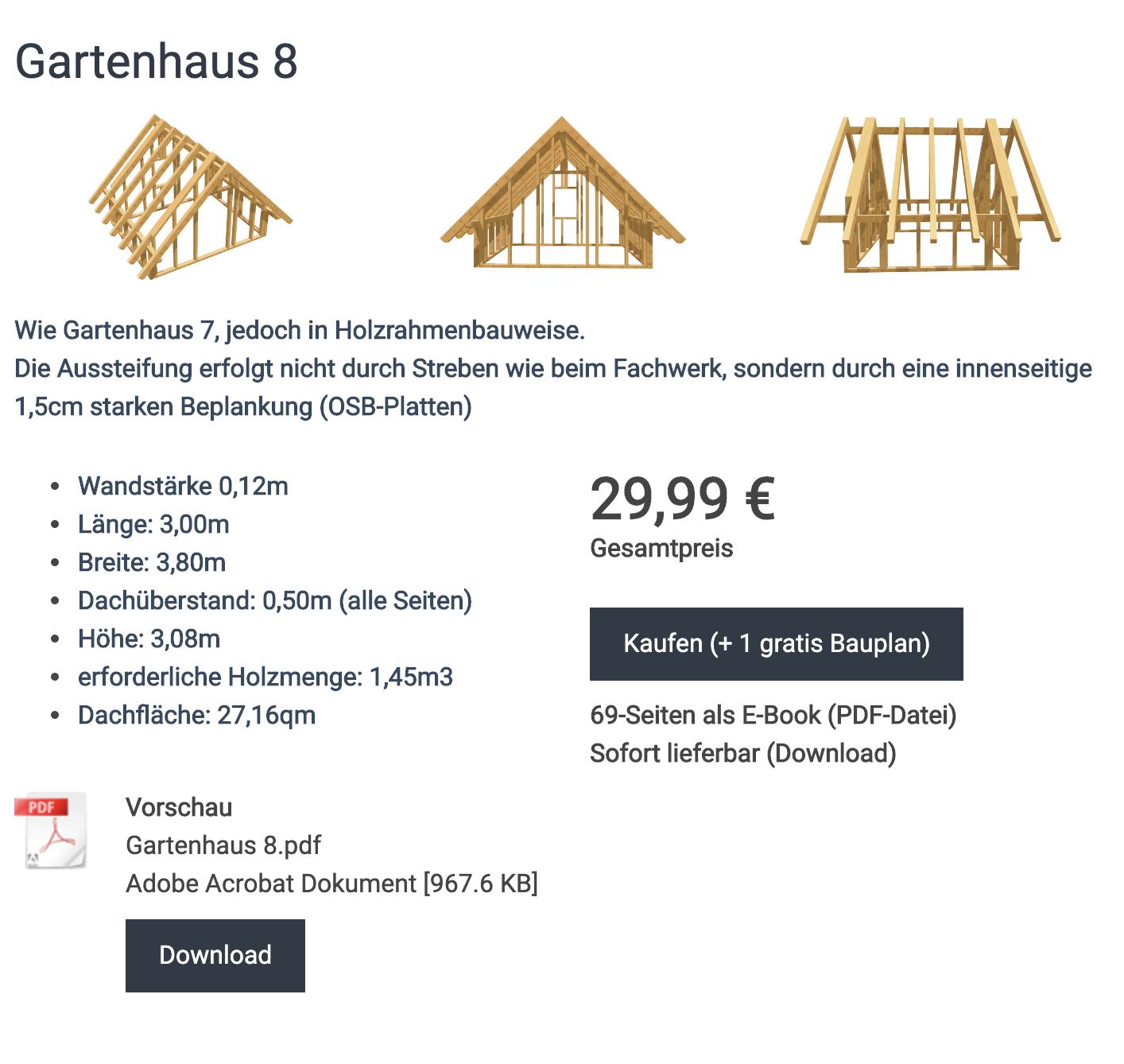 Bauplan Gartenhaus 8