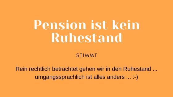 Ruhestand Pension Rente Ruhestand ist kein Stillstand